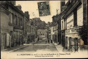 Ak Montoire Loir et Cher, Rue Saint Oustrille et Château
