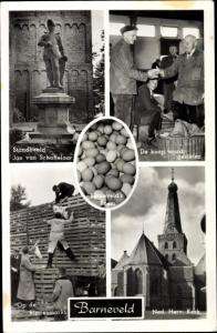Ak Barneveld Gelderland, De koop wordt gesloten, Ned. Herv. Kerk, Op de kippenmarkt, Hühner, Eier