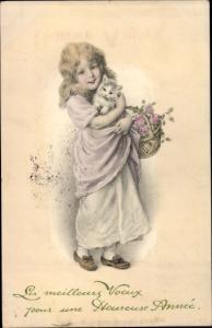 Ak Glückwunsch Neujahr, Mädchen mit Katze und Korb voller Rosen