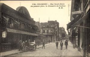 Ak Colombes Hauts de Seine, Rue Saint Denis, Brasserie du Cadran