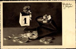 Ak Glückwunsch Neujahr, Geldbeutel, Geldmünzen, Kalender, Kleeblatt, Pilze
