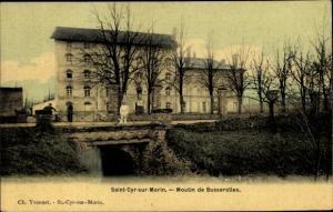 Ak Saint Cyr sur Morin Seine et Marne, Moulin de Busserolles, vue générale, pont