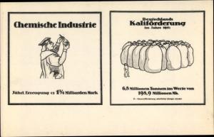 Ak Chemische Industrie, Deutschlands Kaliförderung 1912, Propaganda Kaiserreich
