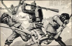 Künstler Ak Deutscher Soldat, Jeder Schuss an Russ, Jeder Stoß a Franzos, Kaiserreich Propaganda