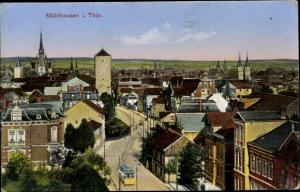 Ak Mühlhausen in Thüringen, Panorama, Tram
