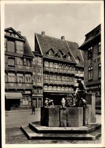 Ak Braunschweig in Niedersachsen, Bäckerklint mit Eulenspiegelbrunnen