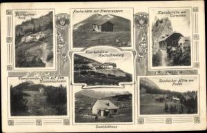 Ak Verschiedene Ansichten von Berghütten, Sparbacherhütte am Faden, Fischerhütte mit Klosterwappen