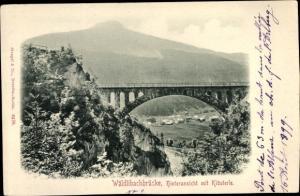 Ak Klösterle Vorarlberg Österreich, Wäldlibachbrücke, Hinteransicht mit Klösterle