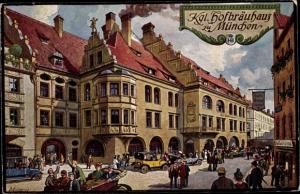 Künstler Ak Quidenus, München, Königliches Hofbräuhaus, Pächter Johann Panzer