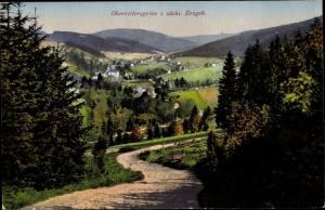 Ak Oberrittersgrün Breitenbrunn Erzgebirge, Blick vom Weg zur Stadt
