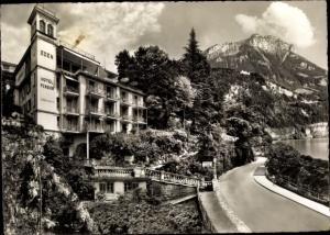 Ak Brunnen Kt Schwyz, Hotel Eden am See au Lac, Parkplatz
