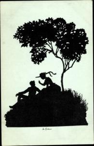 Scherenschnitt Ak Schmidt, Gerda Luise, Mann und Frau unter einem Baum