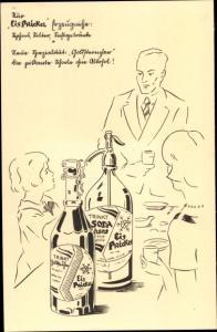 Künstler Ak Reklame Eisprickel Erzeugnisse, Siphons, Selter, Saftgetränke, Goldsteinchen