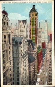 Ak New York City USA, World s Highest Towers, Broadway