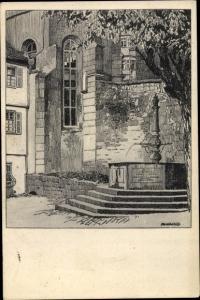 Künstler Ak Tübingen am Neckar, Evangelisches Stift, Brunnen