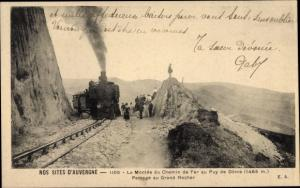 Ak Nos Sites d'Auvergne, la Montee du Chemin de Fer au Puy de Dome, Passage au Grand Rocher