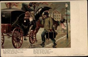 Litho In Harvst, wenn alle Böhm sind geh, Mann mit Koffer im Herbststurm, Kutsche