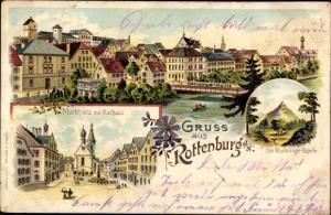 Litho Rottenburg am Neckar, Marktplatz, Rathaus, Wurmlinger Kapelle, Ortsansicht, Ruderer