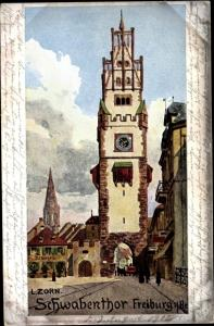Künstler Ak Zorn, L., Freiburg im Breisgau, Schwabentor