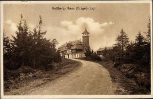Ak Klínovec Keilberg Erzgebirge Region Karlsbad, Unterkunftshaus, Außenansicht
