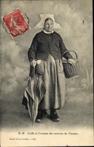 Ak Thouars Deux Sèvres, Coiffe et Costume des environs de Thouars