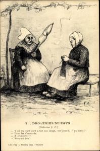 Künstler Ak Thouars Deux Sèvres, Droleries Du Pays, Deux Femmes
