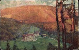 Künstler Ak Luhačovice Bad Luhatschowitz Region Zlin, Hotel Jestrabi, Panorama