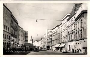 Ak Wels in Oberösterreich, Stadtplatz mit Ledererturm