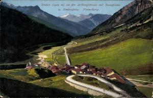 Ak Stuben Klösterle Vorarlberg Österreich, Arlbergstraße mit Scesaplana und Zimbaspitze