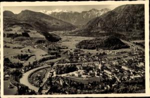 Ak Bad Ischl in Oberösterreich, Fliegeraufnahme mit Dachstein