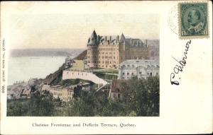 Ak Québec Kanada, Château Frontenac and Dufferin Terrace, Photochromie