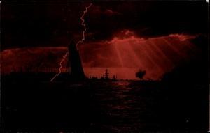 Ak Deutsche Kriegsschiffe im Gewitter
