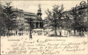 Ak Hamburg Altstadt Mitte, Hansaplatz und Hansabrunnen