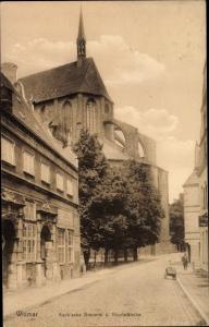 Ak Hansestadt Wismar, Koch'sche Brauerei und Nikolaikirche