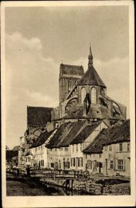 Ak Hansestadt Wismar, Frische Grube und Nikolaikirche