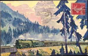 Künstler Ak Schefer, E. A., Devant le Mont Stephen, Canadian Pacific, kanadische Eisenbahn