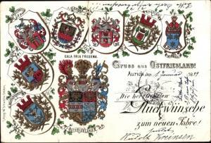 Wappen Litho Aurich in Ostfriesland, Wappen Ostfriesland, Wilhelmshafen, Emden, Leer, Norden