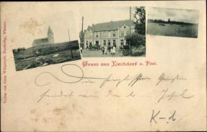 Ak Kirchdorf Insel Poel Nordwestmecklenburg, Kirche, Dorfblick vom Wasser, Windmühle