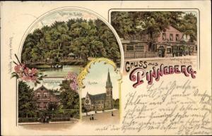 Litho Pinneberg in Schleswig Holstein, Waldhütte, Bahnhofshotel, Kirche, Gasthof zur Eiche