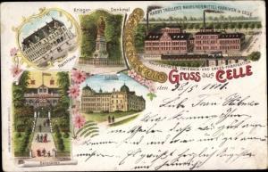 Litho Celle in Niedersachsen, Rathaus, Nahrungsmittelfabrik, Schloss, Berggarten, Kriegerdenkmal