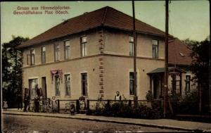 Ak Himmelpforten Niedersachsen, Geschäftshaus Max Bösch, Außenansicht, Anwohner, Fahrräder