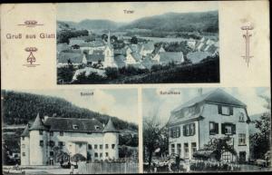 Ak Glatt Sulz am Neckar, Totalansicht vom Ort, Schloss, Schulhaus