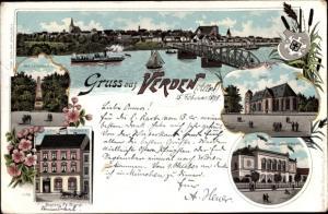 Litho Verden an der Aller, Panorama vom Ort, Brücke, Hôtel Germania, Dom, Kgl. Landgericht, Denkmal