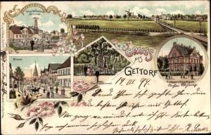 Litho Gettorf in Schleswig Holstein, Landschaftspanorama, Denkmäler, Amtsgericht, Straßenpartie