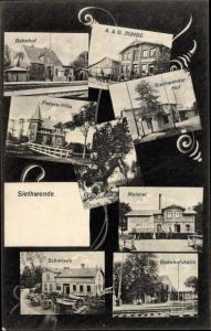 Ak Siethwende Sommerland Schleswig Holstein, Bahnhof, Peters Villa, Meierei, Eiche, Schmiede, Hof