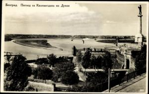 Ak Belgrad Beograd Serbien, Blick vom Kalemegdan auf die Donau