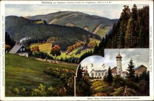 Künstler Ak Falk. G., Klínovec Keilberg Erzgebirge Region Karlsbad, Berg von Südwest, Aussichtsturm