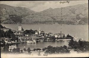 Ak Spiez am Thuner See Kanton Bern, Teilansicht