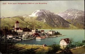 Ak Spiez am Thuner See Kanton Bern, Panorama gegen Ralligstöcke und Beatenberg