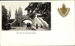 Präge Wappen Ak Québec Kanada, St. Louis Gate